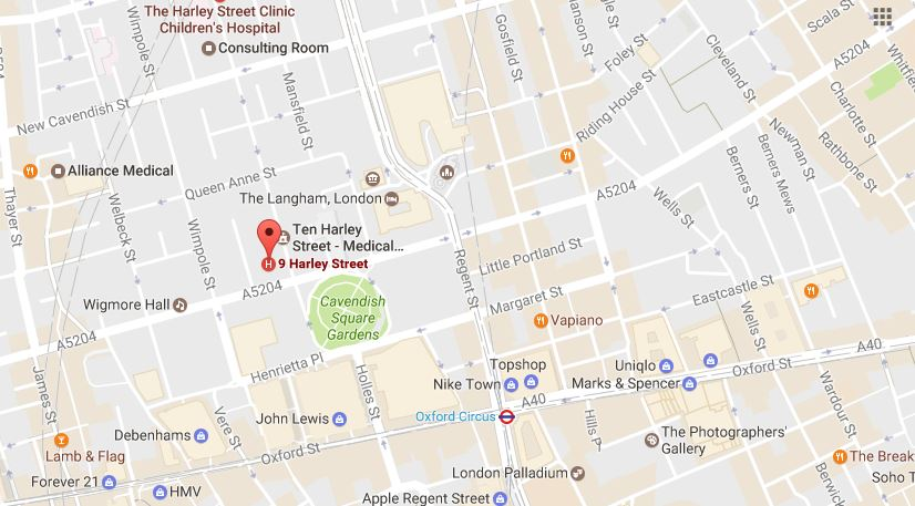 London Map Street.9 Harley Street Map London Pain Clinic